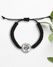 Hippie Peace Love Cord Circle Bracelet aos-bracelet-cord-front-lifestyle-7