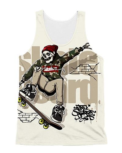 Skull Riding Skateboard
