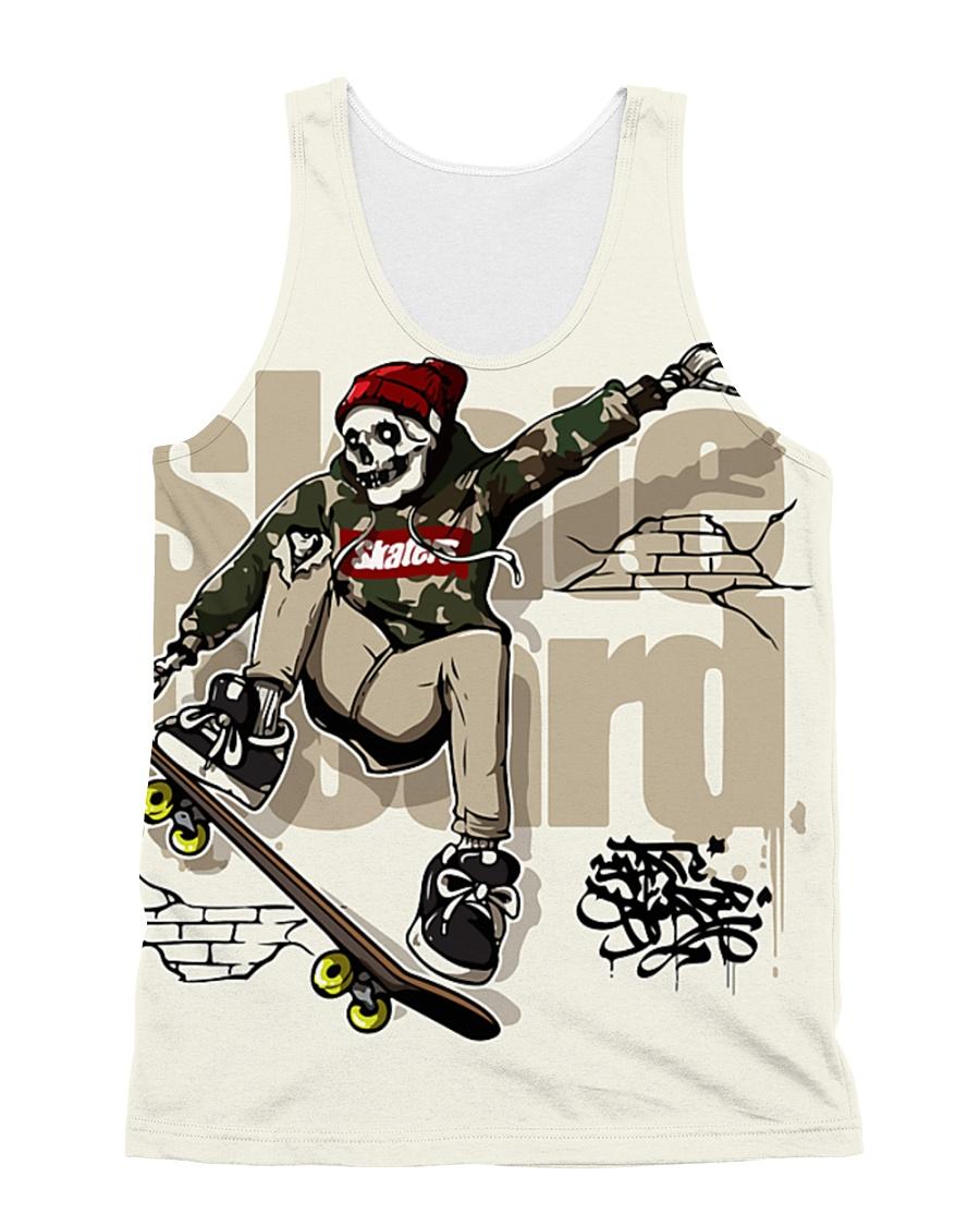 Skull Riding Skateboard All-over Unisex Tank