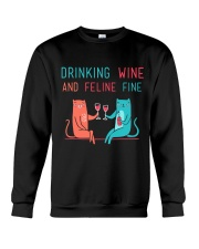 DRINK WINE FELINE FINE Crewneck Sweatshirt thumbnail