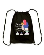 MANY BOOKS LITTLE TIME Drawstring Bag thumbnail