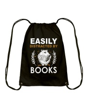 DISTRACTED BY BOOK Drawstring Bag tile