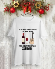 WINE ALONE NEEDS GUITAR Classic T-Shirt lifestyle-holiday-crewneck-front-2