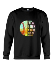 GIRL TRY SOFTBALL Crewneck Sweatshirt thumbnail