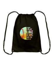 GIRL TRY SOFTBALL Drawstring Bag thumbnail