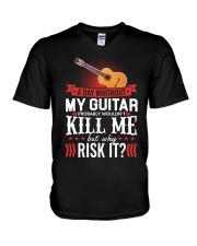 GUITAR RISK IT V-Neck T-Shirt thumbnail