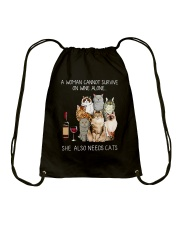 WINE ALONE CATS Drawstring Bag tile