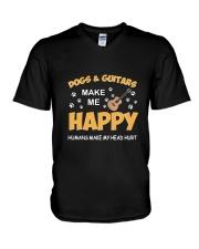 DOGS GUITARS HAPPY V-Neck T-Shirt thumbnail