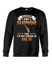WARNING I HAVE A SAXOPHONE Crewneck Sweatshirt thumbnail