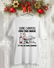 SOME CAMPERS CUSS TOO MUCH WHITE Classic T-Shirt lifestyle-holiday-crewneck-front-2