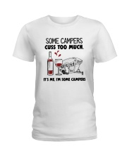 SOME CAMPERS CUSS TOO MUCH WHITE Ladies T-Shirt thumbnail