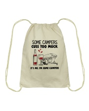 SOME CAMPERS CUSS TOO MUCH WHITE Drawstring Bag thumbnail