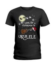 AII I WANT CHRISTMAS IS UKULELE Ladies T-Shirt thumbnail