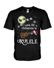 AII I WANT CHRISTMAS IS UKULELE V-Neck T-Shirt thumbnail
