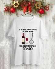 WINE ALONE NEEDS BANJO Classic T-Shirt lifestyle-holiday-crewneck-front-2