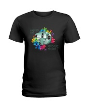 CAMPING ADVENTURE BEGINS Ladies T-Shirt thumbnail