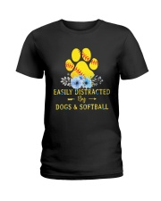 DOGS AND SOFTBALL Ladies T-Shirt thumbnail