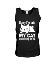 CAT SITTING ON ME Unisex Tank tile