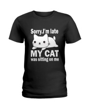 CAT SITTING ON ME Ladies T-Shirt tile