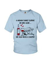 CAMPING WINE ALONE Youth T-Shirt thumbnail