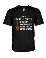 UKULELE STUPID QUESTION V-Neck T-Shirt thumbnail
