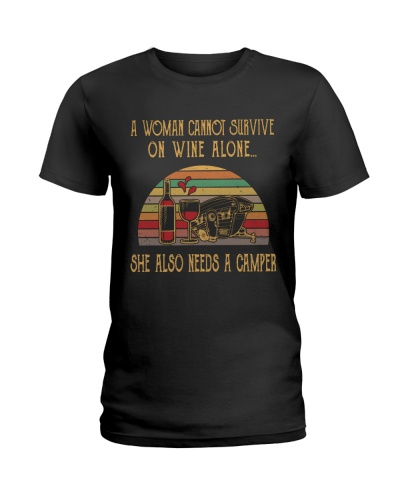 WOMAN WINE ALONE CAMPER