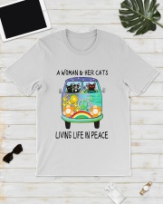 WOMAN CAT PEACE Classic T-Shirt lifestyle-mens-crewneck-front-17