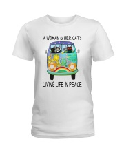 WOMAN CAT PEACE Ladies T-Shirt thumbnail