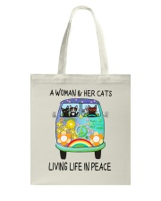 WOMAN CAT PEACE Tote Bag thumbnail