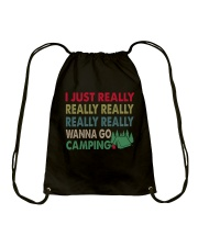 REALLY WANNA CAMPING Drawstring Bag thumbnail