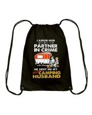 CRIME CAMPING HUSBAND Drawstring Bag thumbnail
