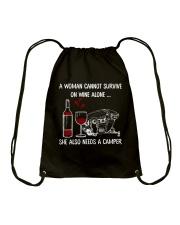 WINE ALONE CAMPER Drawstring Bag thumbnail
