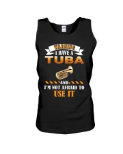 WARNING I HAVE A TUBA Unisex Tank tile