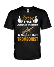 SUPER HOT TROMBONE V-Neck T-Shirt thumbnail