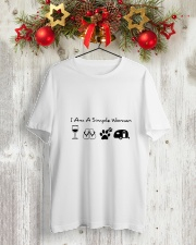 WOMAN CAMPING SIMPLE Classic T-Shirt lifestyle-holiday-crewneck-front-2