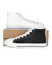 mazaing black simple Men's High Top White Shoes inside-left-outside-left