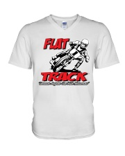 FLAT TRACK BECAUSE ANYONE CAN RIDE MX V-Neck T-Shirt tile