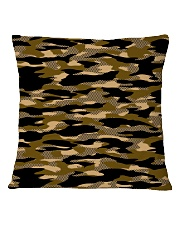 Brown Grid Camouflage Square Pillowcase back
