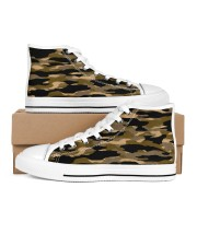 Brown Grid Camouflage Men's High Top White Shoes thumbnail