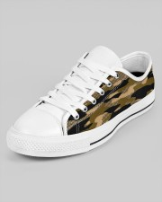 Brown Grid Camouflage Men's Low Top White Shoes aos-men-low-top-shoes-ghosted-white-outside-left-02