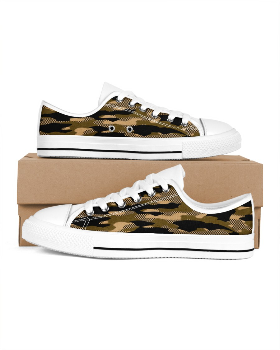 Brown Grid Camouflage Men's Low Top White Shoes