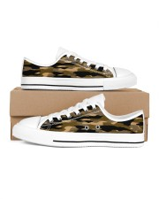 Brown Grid Camouflage Men's Low Top White Shoes inside-right-outside-right