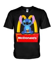 Stitch Loves Mcdonalds V-Neck T-Shirt thumbnail