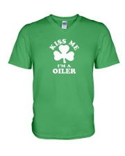 Kiss Me I'm a Oiler V-Neck T-Shirt tile