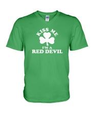 Kiss Me I'm a Red Devil V-Neck T-Shirt thumbnail