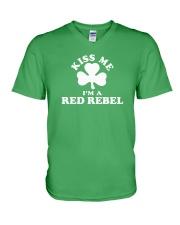 Kiss Me I'm a Red Rebel V-Neck T-Shirt thumbnail