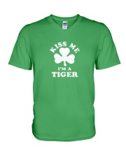 Kiss Me I'm a Tiger V-Neck T-Shirt thumbnail