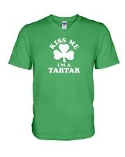 Kiss Me I'm a Tartar V-Neck T-Shirt thumbnail
