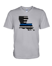 Louisiana - Thin Blue Line V-Neck T-Shirt thumbnail