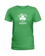 Kiss Me I'm a Saint Ladies T-Shirt thumbnail